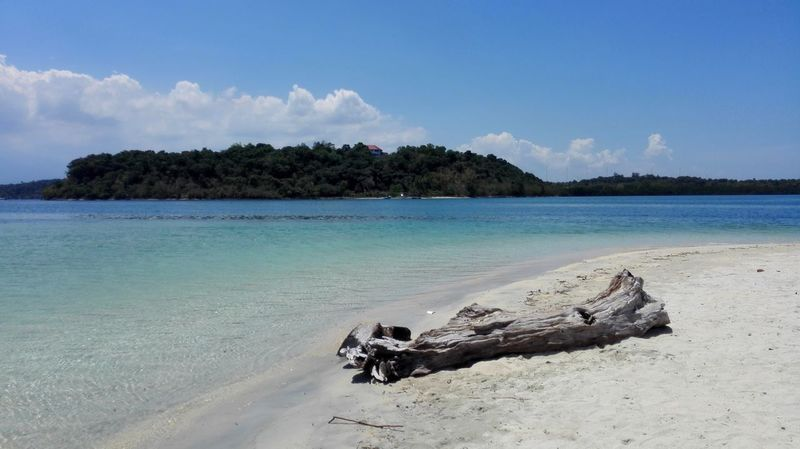Magalawa Island Log Old Log Sand Beach Tree Sea Island Water Tropical Climate Sky Blue Nature Landscape Tranquil Scene Travel Destinations Outdoors Summer Scenics Philippines Zambales Turquoise Sea White Sand Beach Photography No People