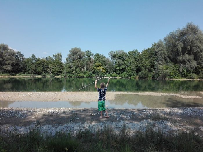 My Child Mychild Water Child Tree Full Length Standing Lake Clear Sky Reflection Childhood