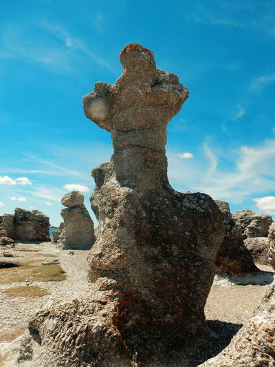 """""""Raukar"""" at folhammar, Ljugarn,Gotland Rauk Raukar Rock Rock - Object Rock Formation Stone Mountains Beach Sea Beauty In Nature Nature Scenery Landscape Sky Sky And Clouds Blue Sky Summer Nature Reserve Protected Areas Showcase June Miles Away The Great Outdoors - 2017 EyeEm Awards"""