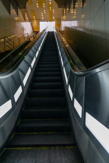 Low angle view of escalator