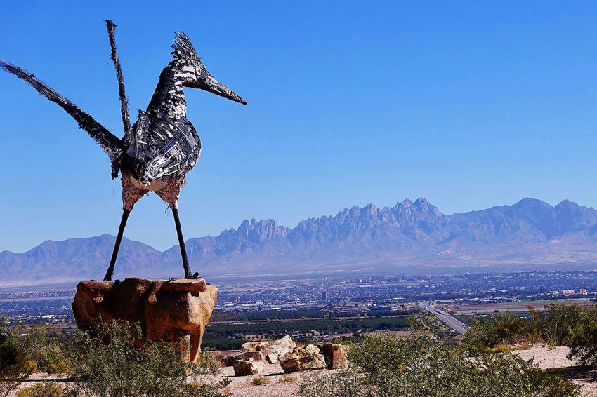 The Recycled Roadrunner, Las Cruces and the Organ Mountains in the USA. City Las Cruces New Mexico Recycled Roadrunner Rio Grande Valley USA Blue Sky Day Landscape Monument Mountain Mountain Range No People Organ Mountains Outdoors Scenics