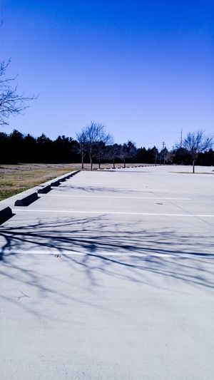 Parking Lot VOID Empty None No Cars  No People Barren Lonely Trees Sky Contrast Lines Concrete White White Lines Grass