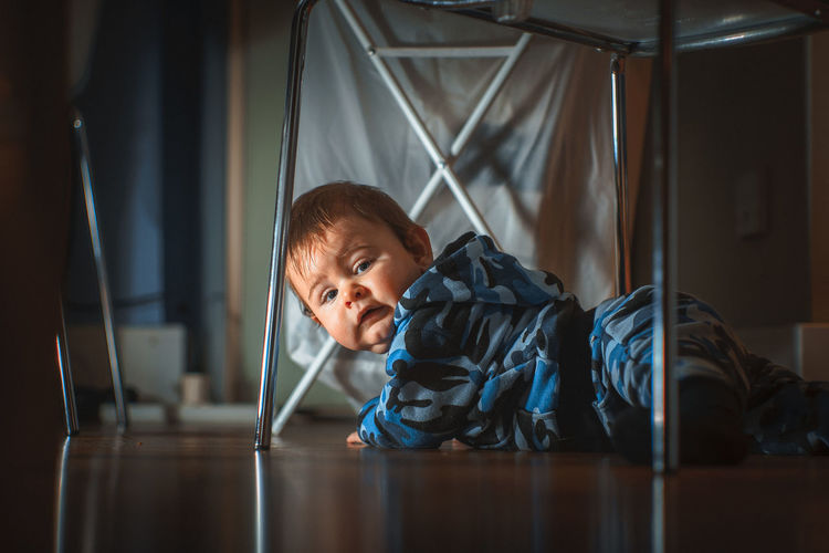 Portrait of baby boy at home