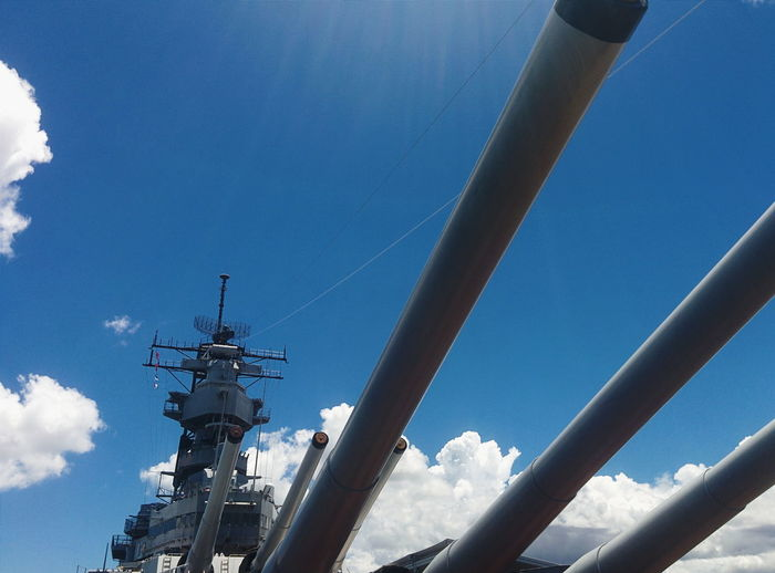 Low angle view of warship against sky