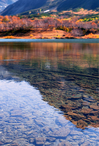 Water Reflection Lake Beauty In Nature Tranquility Nature No People Scenics - Nature Tranquil Scene Day Sky Cloud - Sky Outdoors Cold Temperature Winter Mountain Sunset Snow Plant