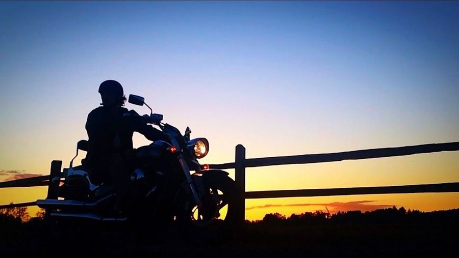 On my bike, watching the sunset. Sunset Motorcycle Self Portrait IPhoneography