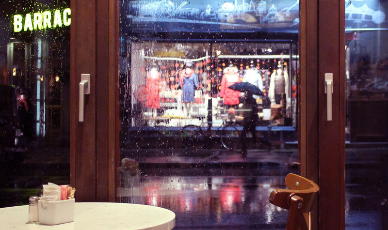 Photos taken in and around Montreal, fall of 2018. Montréal City Urban Streetphotography Window Glass - Material Transparent Reflection Incidental People Business Restaurant Retail  Cafe Store Real People Table Retail Display Food And Drink Glass Rain Umbrella