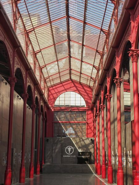 Arcade Architectural Column Architecture Built Structure Ceiling Corridor Day Diminishing Perspective In A Row Indoors  Narrow No People Red Red Color Shadow Piano Light And Shadow Portugal_lovers Portugal_em_fotos Mercado Ribeira Mercado Industry Famous Place Architectural Feature Portugal
