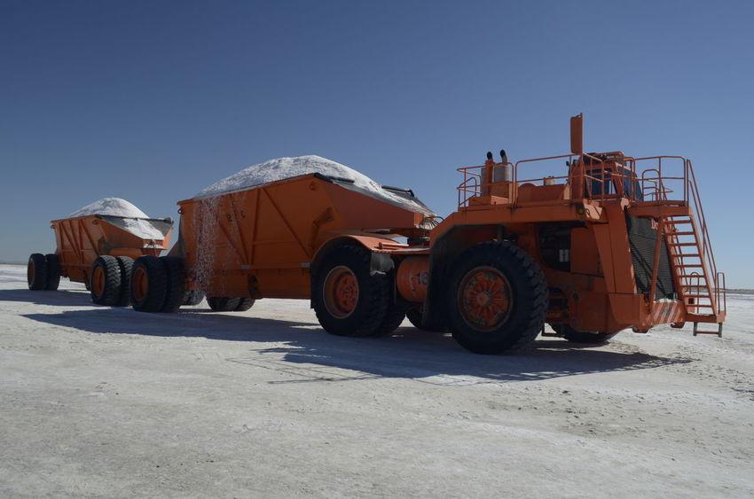 Baja California Sur Essa Guerrero Negro Mexico Harvest Salt Machine Orange Color Salt