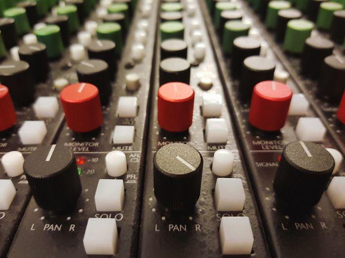 Full frame shot of audio equipment