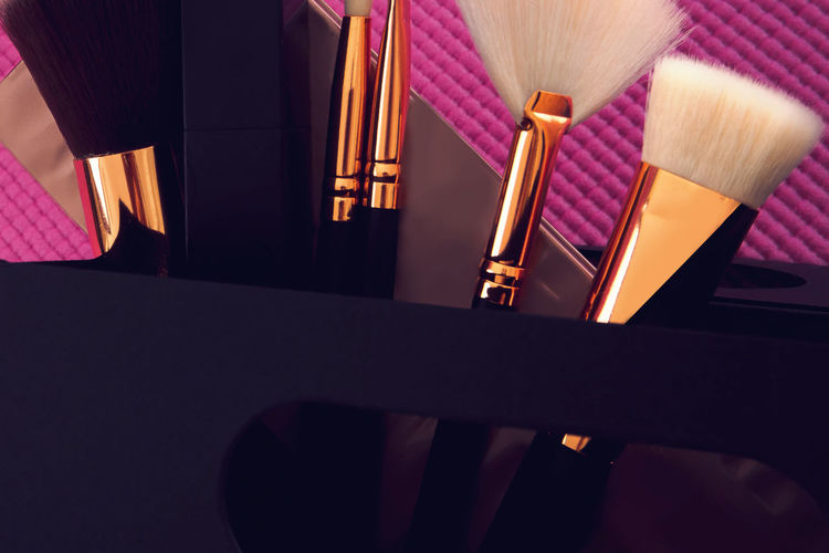 Close Up Of Make-Up Brushes In Box