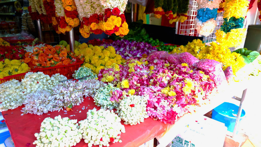 High angle view of multi colored flower for sale at market stall