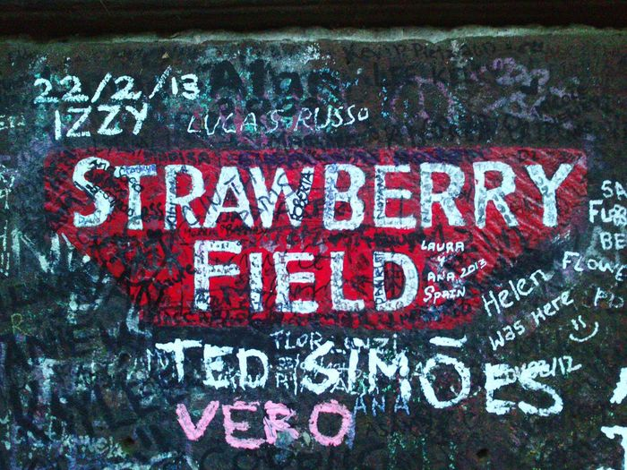 Text Close-up Communication No People Red Outdoors Day The Beatles Liverpool Merseyside John Lennon Paul Mccartney George Harrison Ringo Starr Strawberry Fields Strawberry Fields Forever Music