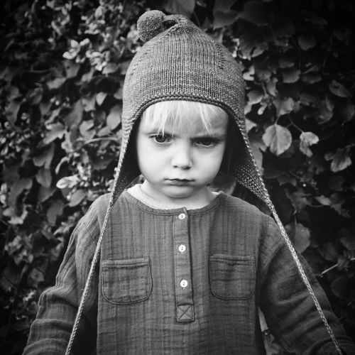Knit Hat One Person Portrait Sad Moody Child Moody Boy Toddler  Lonely Leaf Warm Clothing Childhood Knitted  Front View Sweater Close-up People Lost Day Outdoors