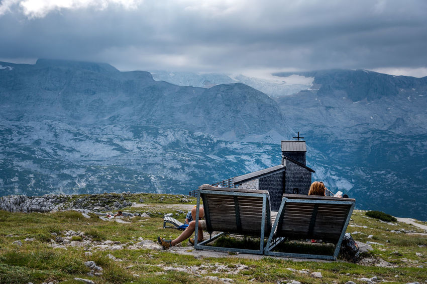 Scenic view of glacier in the Austrian Alps Five Fingers Mountians Adventure Alps Architecture Beauty In Nature Built Structure Chair Cloud - Sky Day Glacier Grass Landscape Mountain Mountain Range Nature No People Outdoors Relaxation Scenics Sea Sitting Sky Tranquility Water Winter