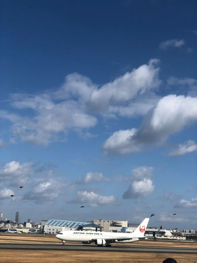 Sky Cloud - Sky Air Vehicle Airplane Transportation Mode Of Transportation Airport Nature No People Airport Runway Day Architecture Commercial Airplane Outdoors Flying Travel Land Aerospace Industry Blue on the move