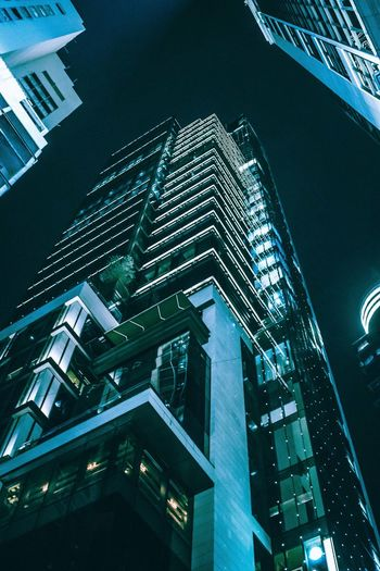 Architecture of Hong Kong. Apartment Architecture Building Building Exterior Built Structure City Financial District  Glass - Material Illuminated Low Angle View Modern Nature Night No People Office Office Building Exterior Outdoors Residential District Sky Skyscraper Tall - High Tower