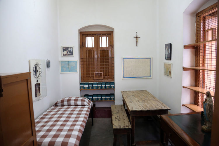 The former room of Mother Teresa at Mother House in Kolkata, West Bengal, India on February 07,2014. Missionaries Agnes ASIA Bojaxhiu Calcutta Catholic Charity Christianity Faith Gonxhe Humanitarian India Kolkata Mission Mother Mother House Nun Poor  Prize Religious  Room Sister Teresa West Bengal