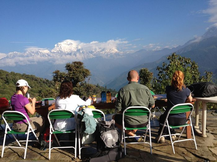 Traveling In Nepal Breakfast With A View Himalayas Annapurna Four People Starting A Trip Mountains Chairs Blue Sky Hikingadventures Traveling Break The Mold Neighborhood Map Connected By Travel An Eye For Travel Summer Exploratorium