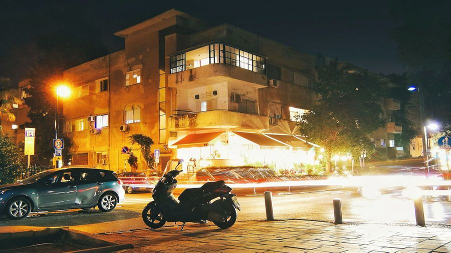 City Lights Tel Aviv Israel Night City Illuminated Land Vehicle Car Architecture Building Exterior Built Structure City Street Street