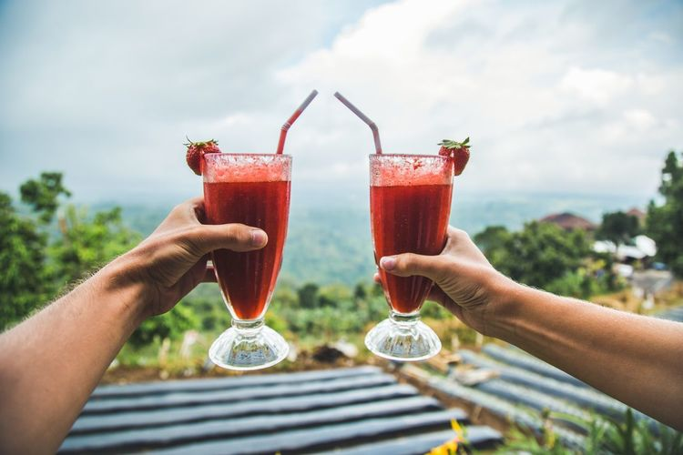 Live For The Story Drink Togetherness Outdoors Sky Cocktail Strawberry Hill Mountain Travel Bali Island Couple Hand Smothie Summer Lunch Dessert Freshness Healthy Eating EyeEmNewHere Eyeemmarket The Great Outdoors - 2017 EyeEm Awards Let's Go. Together. Sommergefühle The Week On EyeEm Done That. Connected By Travel Go Higher