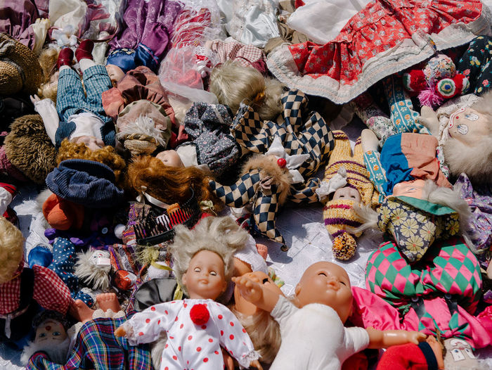 High angle view of stuffed toys for sale