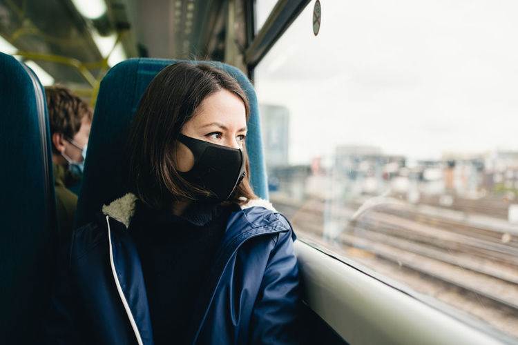 Portrait of a woman wearing a face mask in train