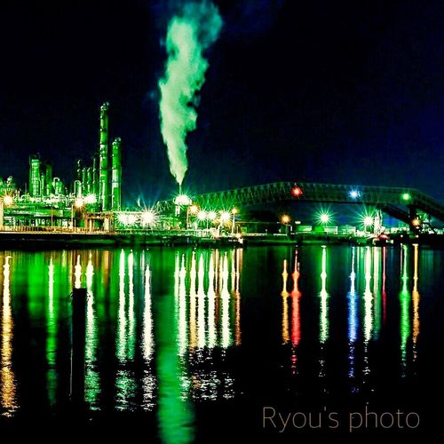 Night Lights Reflection_collection EyeEm Best Shots - Reflections Reflection Night View Nightphotography Water Reflections Factory Factory Night View
