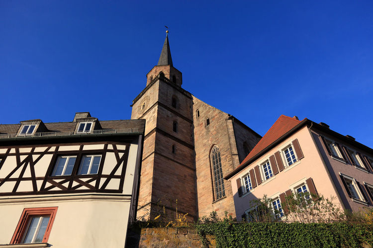 old city and church Petrikirche of Kulmbach, Frankonia, Bavaria, Germany Architecture Belief Blue Building Building Exterior Built Structure Clear Sky Clock Copy Space Day Kulmbach Low Angle View Nature No People Outdoors Place Of Worship Religion Sky Spire  Spirituality Tower Window