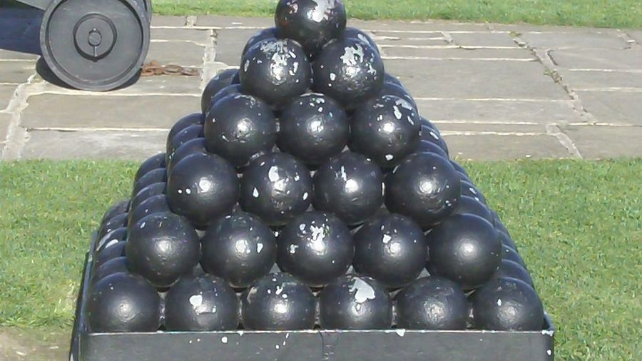 Cannonballs Day Outdoors Pyramid Of Cannon Balls Stack Of Cannon Balls