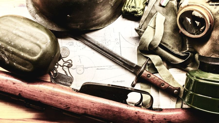 Indoors  Table No People Close-up Day Ww Ww2 WWII History Historic Historical Gun Riffle Gasmask Bayonet Knife Helmet Blueprint EyeEmNewHere The Week On EyeEm Be. Ready. EyeEm Ready   #FREIHEITBERLIN