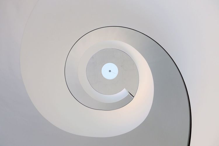 Twisted Tuesday No People Indoors  Low Angle View Architecture Close-up Day White Color WhiteCollection Round Spiral Spiral Staircase Spiral Stairs Looking Up Minimalist Photography  Minimalistic The Graphic City
