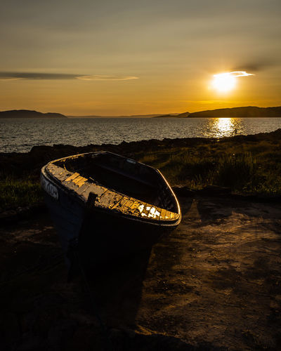 Portencross Sunset Scotland Beach Beauty In Nature Boat Cloud - Sky Coast Land Landscape Nature Nautical Vessel No People Orange Color Rowboat Scenics - Nature Sea Sky Sun Sunset Tranquil Scene Tranquility Water