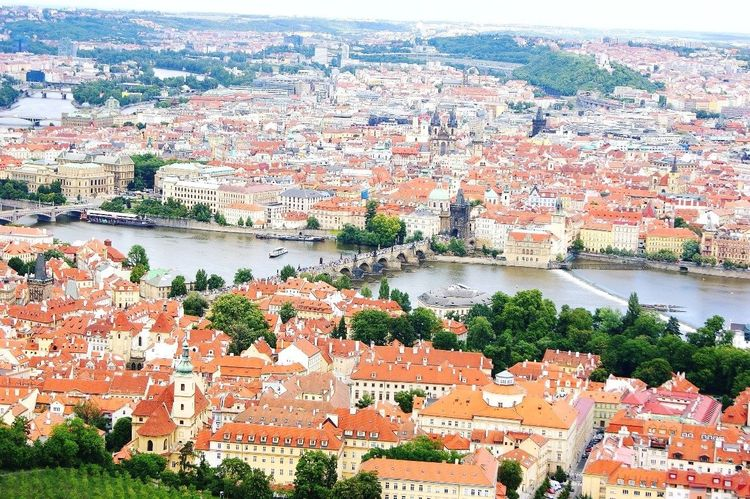 Europe Architecture Water House River Cityscape Bridge - Man Made Structure City Day Roof Aerial View Prague Czech Republic