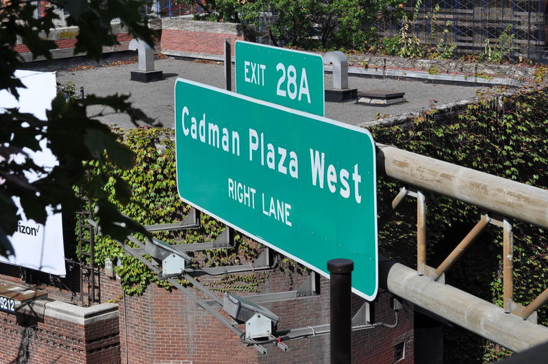 Brooklyn Cadman Plaza CadmanPlaza Directional Sign Elevated View Road Sign Road Signs Signage Street Signs