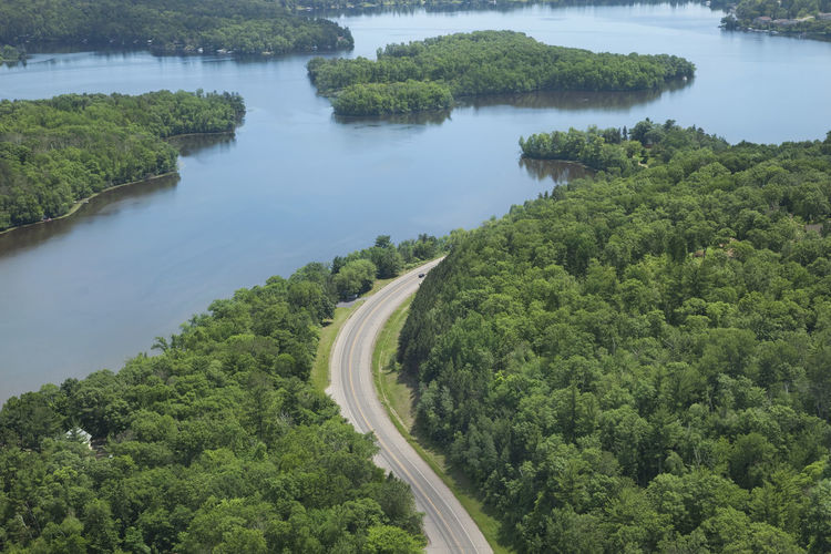 Aerial view of road by mississippi river