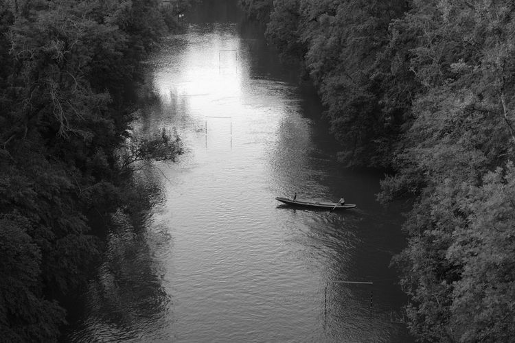 Beauty In Nature Blackandwhite Blackandwhite Photography Boat Day High Angle View Mode Of Transport Nature Nautical Vessel Outdoors River Rowboat Rowing Sailing Scenics Tranquility Transportation Tree Water Waterfront