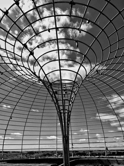 Pattern Built Structure Sky Architecture Clouds Steel Structure  Steel Frame Funnel Shaped Circle Pattern Circular Shape Black And White Photography Wanganuinz