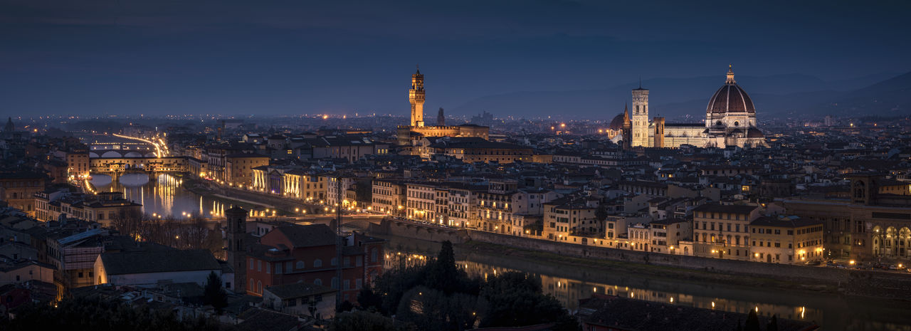 Florence by night City Duomo Di Firenze Night Lights Nightphotography Panorama Travel Florence Italy Night Ponte Vecchio River Travel Destinations