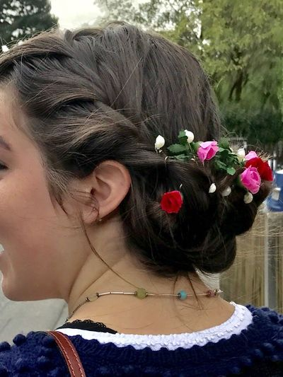 Close-up Flower One Person Wearing Flowers Hair Bun Headshot Real People Women Rear View Day Outdoors Adult Human Body Part Young Women Adults Only One Woman Only People Young Adult hair, flowers in hair