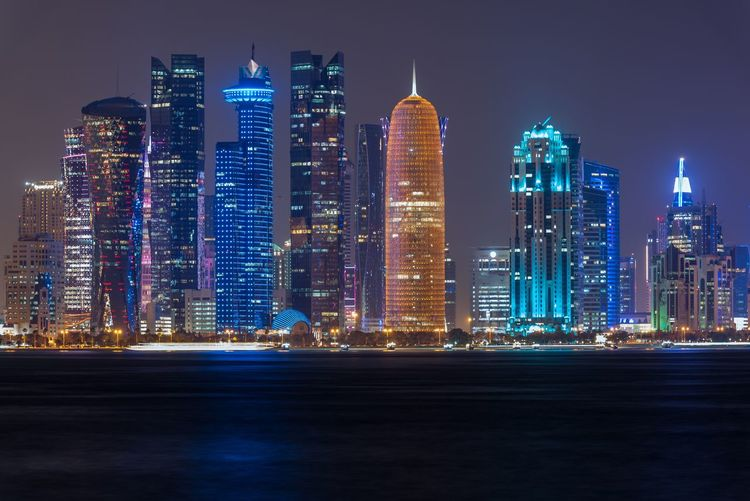 Cornish of Doha Skyscraper Architecture Illuminated Night City Building Exterior Modern Cityscape Urban Skyline Travel Destinations
