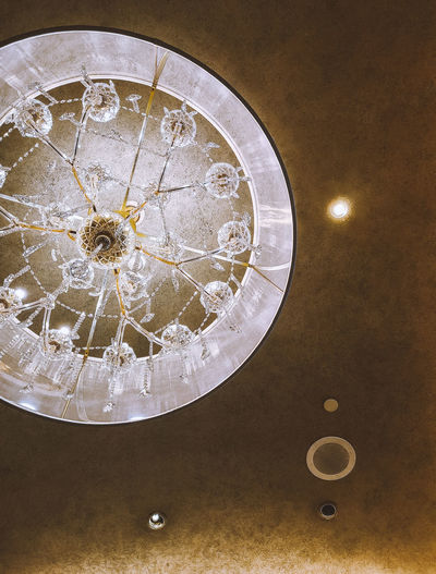 Directly below shot of illuminated chandelier