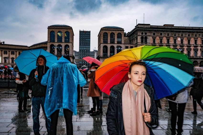 Monday, under the rainbow. Rain Multi Colored Adults Only Adult People Lifestyles Crowd City Large Group Of People Holding Outdoors Group Of People Women Young Women Men Day Architecture Sky