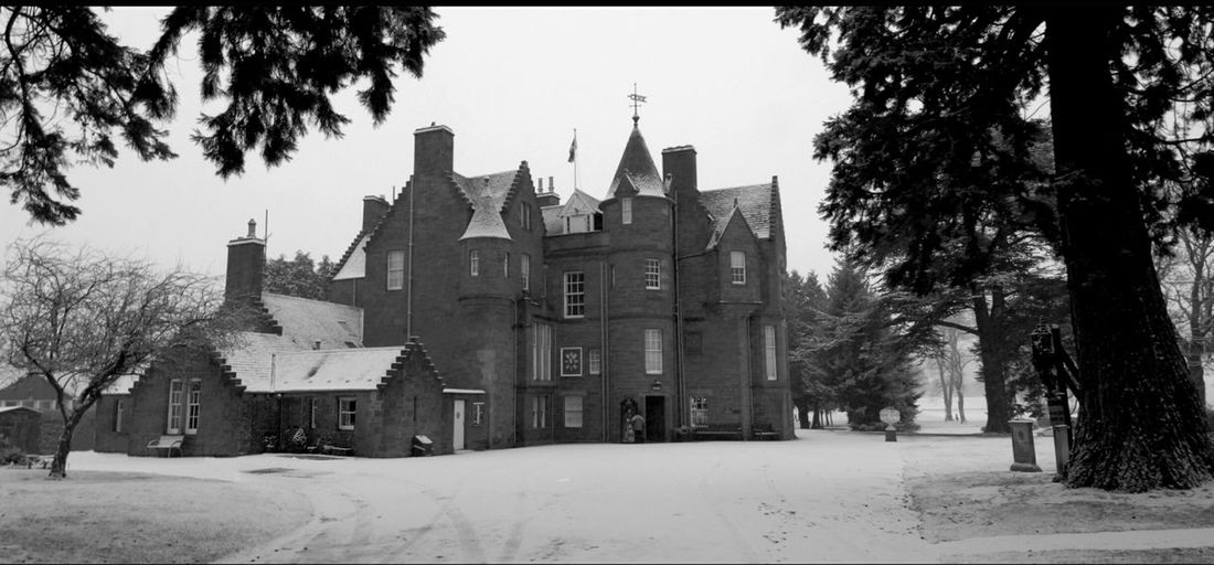 Tree Winter Snow Built Structure Building Exterior Travel Destinations Architecture Cold Temperature Sky Outdoors No People Man-made. Architecture Balhousie Castle Black And White military museum Perth Black Watch Tourism