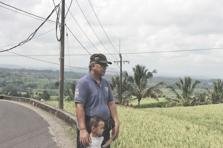 Beautiful Outdoors Nature Agriculture Grandfather Grandson Jatiluwih Rice Terrace Bali, Indonesia