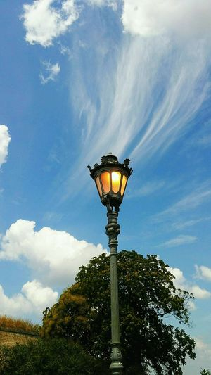 Lamppost,tree and clouds Lamppost Lamppostlove Lamppost Stub Blue Sky White Clouds Sky And Trees Sky And Clouds Outdoor Photography No People Light Cloud - Sky Street Light Sky Low Angle View Outdoors No People Tree Day Blue Illuminated