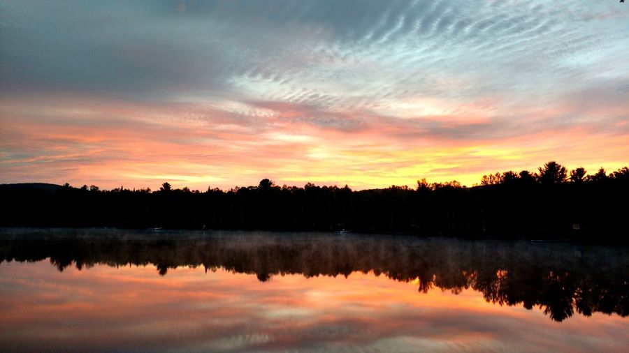 Get up early Tree Water Sunset Lake Reflection Sky Cloud - Sky Landscape Reflection Lake Tranquil Scene Tranquility