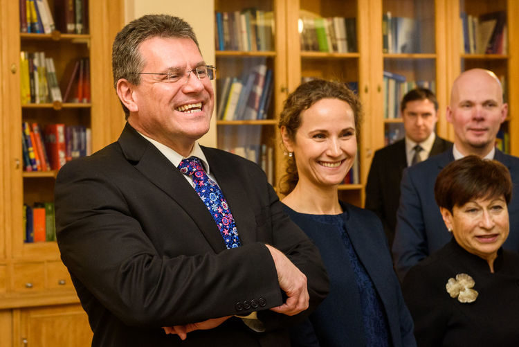 01.02.2018. RIGA, LATVIA. Maros Sefcovic (from left), during meeting : Prime minister of Latvia Maris Kucinskis meet with Maroš Šefčovič, Vice-President of the European Commission for Energy Union. Maros Sefcovic European Comission European Union Maros Sevcovic New Vice-President Of The European Commission For Energy Union ENERGY Union Politicianm Politics And Government Report