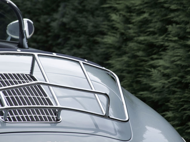 Classic Car Car Chrome Classic Car Close-up Cropped Day Detail Elegant Elégance Focus On Foreground Luggage Rack Metal Mirror Mode Of Transport No People Old Outdoors Part Of Porsche Porsche 911 Rear View Silver  Stationary Style Stylish