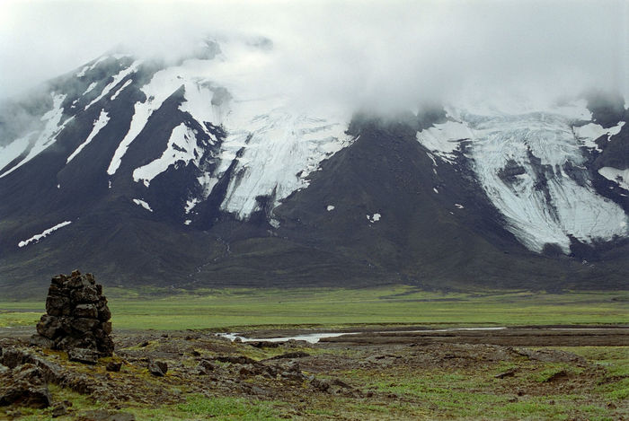 a stone marker on an historic overland route, iceland Cairn Extreme Terrain Fog Glacier Grass Landscape Majestic Marker Mountain Mountain Peak Mountain Range Nature Post Remote Rockface Rocks Rocky Stones Travel